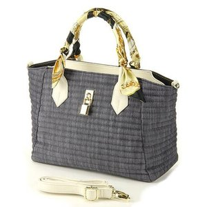 デニム2wayトートバッグ スカーフ付 通勤通学 オフィス キャリアバッグ レディースバッグ ハンドバッグ|fleur-de-camelia2
