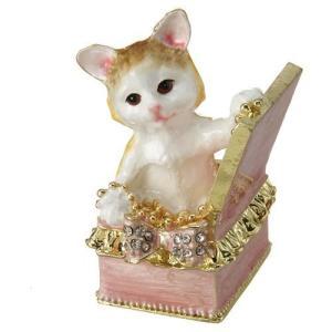 ジュエリーケース アクセサリーケース 箱入ネコ 小物入れ エレガント雑貨 インテリア 女性 誕生日プレゼント お礼 お返し お祝い|fleur-de-camelia2