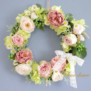 フラワーリース 送料無料 桃色リース30cm 結婚式