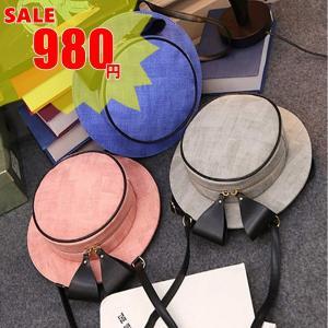 【SALE】個性的なハット型ショルダーバッグ 2way リュック カンカン帽モチーフ 帽子型 flexgear