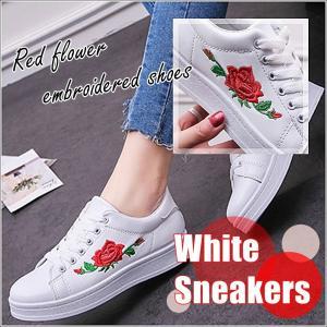 赤い花柄刺繍のスニーカー バラ刺繍 白スニーカー 紐靴 シューズ レディース|flexgear
