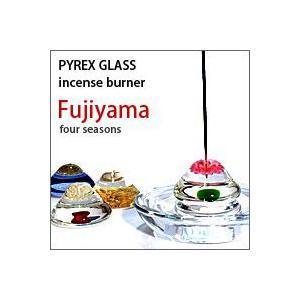 ガラス(PYREX)Fujiyama 富士山のお香立て(お香皿のオマケ付き)|flgds