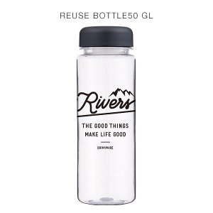 RIVERS(リバーズ)リユースボトル500ml GOOD LIFE(クリア/ブラック)ウォーターボトル、クリアボトル|flgds