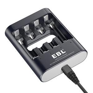 EBL 急速電池充電器 USB入力付き 1-4本までニッケル単三/単四型充電池対応 一本でわずか40...