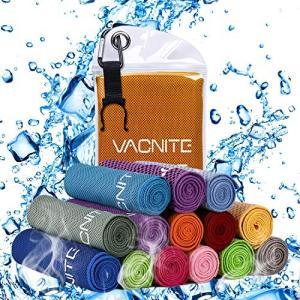 VACNITE クールタオル 速乾タオル 超吸水 軽量 速乾 熱中症対策 100×30cm 1枚 14種類選択可能 防水袋付き (オレンジ)|fljust