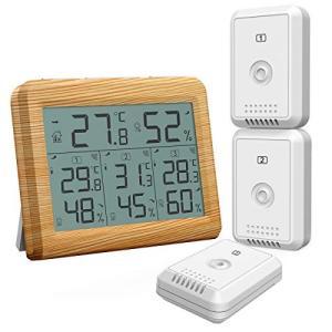 ORIA デジタル温湿度計 外気温度計 温度湿度計 ワイヤレス 室外 室内 三つセンサー 高精度 L...