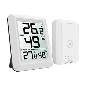ORIA デジタル温湿度計 外気温度計 ワイヤレス 室内 室外 高精度 LCD大画面 最高最低温度/...
