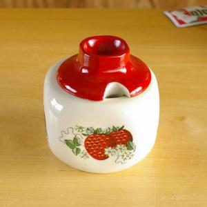 ポーランド製CHODOZIEZ いちご柄 シュガーポット ジャムジャー #160930 ヴィンテージ アンティーク 食器 陶器