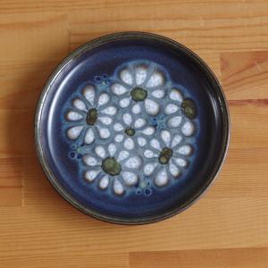 イギリス ヴィンテージ 食器 陶器 デンビー キズミット ブルー ブラック 花柄 プレート ケーキ皿...