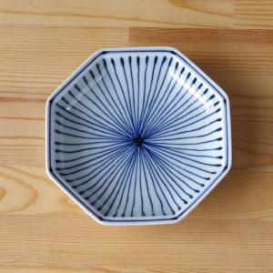 白山陶器 染付地紋 八角取皿 十草 15cm 取り皿 中皿