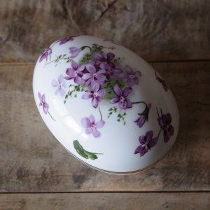 ハマースレイ ヴィクトリアンバイオレット 卵型 トリンケットボックス イギリス ビンテージ 陶器 雑...