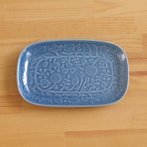波佐見焼のプレートです。  深みのあるおしゃれなブルーと、美しいツヤが特長のプレートです。 地の陶器...