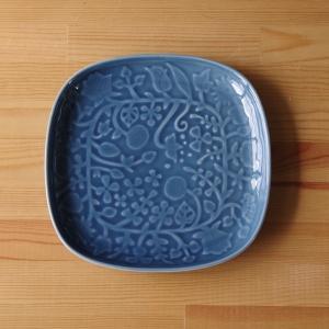 波佐見焼 和山 フラワーパレード スクエアプレート 角皿 22cm 花柄 瑠璃釉 ブルー