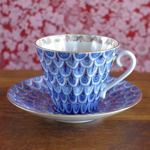 ロシア製インペリアル・ポーセレン 忘れな草 勿忘草 カップ&ソーサー Imperial Porcelain Russia (旧 Lomonosov ロモノーソフ) Forget-me-not 陶器 食器