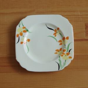 アンティーク 陶磁器 New England オレンジ花柄 デザートプレート ケーキ皿 #19070...