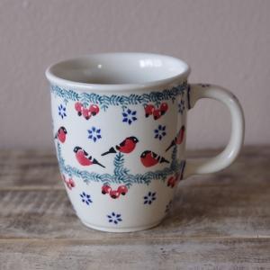 ポーリッシュポタリー マグカップ ポーランド食器 赤い小鳥 木の実 M 270ml K81-GILE