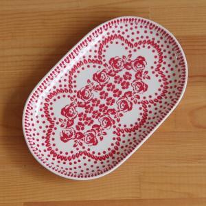 ポーランド食器 ポーリッシュポタリー オーバルプレート 楕円皿 中皿 24cm 赤 薔薇 花柄 アー...