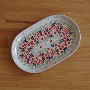 ポーランド陶器 ポーリッシュポタリー オーバルプレート 楕円皿 中皿 24cm 赤 オレンジ 小花柄...