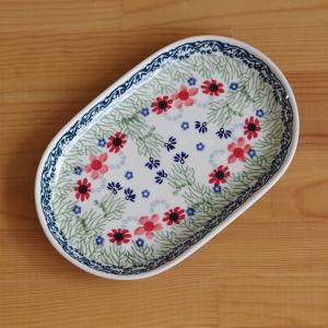 ポーランド食器 ポーリッシュポタリー オーバルプレート 楕円皿 中皿 24cm 金魚 水草 さかな ...