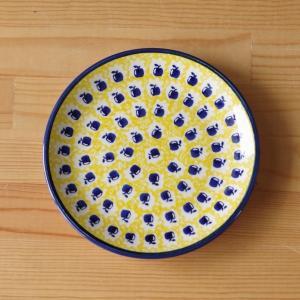 ポーランド食器 ポーリッシュポタリー 中皿 17cm ネイビー 黄色 りんご柄 T130-ALC26