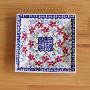 ポーランド食器 スクエアプレート ポーリッシュポタリー 角皿 盛り皿 18cm 赤 花柄 T158-...