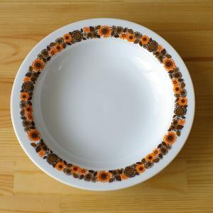 ドイツ製 ヴィンテージ食器 Thomas トーマス Rotunda オレンジ 花柄 深皿 スーププレ...