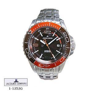 ジャック ルマン 腕時計 JACQUES LEMANS 1-1353G  Liverpool  Diver   ブラウン文字盤 SSベルト 自動巻き  メンズ|flore