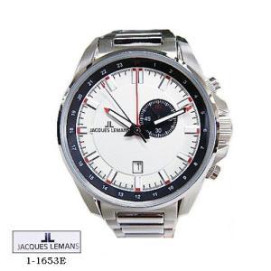 ジャック ルマン 腕時計 JACQUES LEMANS 1-1653E  Liverpool GMT  シルバー文字盤 SSベルト クオーツ メンズ|flore