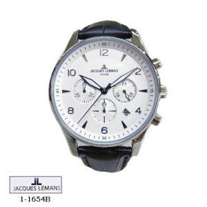 ジャック ルマン 腕時計 JACQUES LEMANS 1-1654B  LONDON クロノグラフ シルバー文字盤 黒革ベルト クオーツ メンズ|flore
