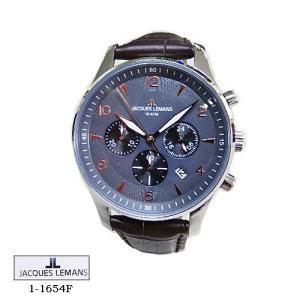 ジャック ルマン 腕時計 JACQUES LEMANS 1-1654F  LONDON クロノグラフ グレー文字盤  こげ茶革ベルト クオーツ メンズ|flore