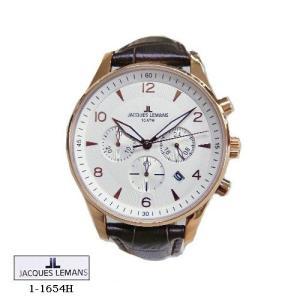 ジャック ルマン 腕時計 JACQUES LEMANS 1-1654H  LONDON クロノグラフ PG  シルバー文字盤  こげ茶革ベルト クオーツ メンズ|flore