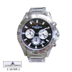 ジャック ルマン 腕時計 JACQUES LEMANS 1-1670F.1  MONTREAL  クロノグラフ 黒文字盤 SSベルト クオーツ メンズ|flore