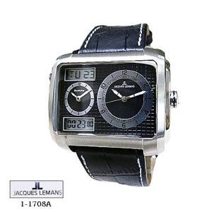 ジャック ルマン 腕時計 JACQUES LEMANS 1-1708A  Madrid  クロノ  黒文字盤 黒革ベルト クオーツ メンズ|flore