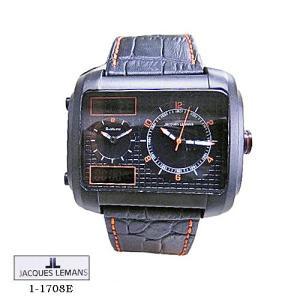 ジャック ルマン 腕時計 JACQUES LEMANS 1-1708E  Madrid  クロノ  黒文字盤 黒革ベルト クオーツ メンズ|flore