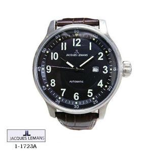 ジャック ルマン 腕時計 JACQUES LEMANS 1-1723A  Proto Automatic  黒文字盤 茶革ベルト メンズ|flore