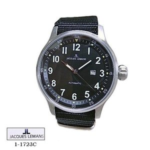 ジャック ルマン 腕時計 JACQUES LEMANS 1-1723C  Proto Automatic  黒文字盤 黒ナイロンベルト メンズ|flore