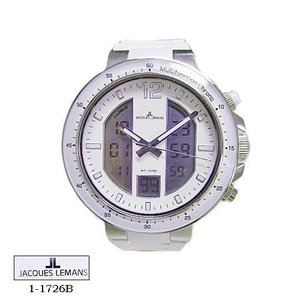 ジャック ルマン 腕時計 JACQUES LEMANS 1-1726B  Milano  クロノ  白文字盤 白ラバーベルト クオーツ  メンズ|flore