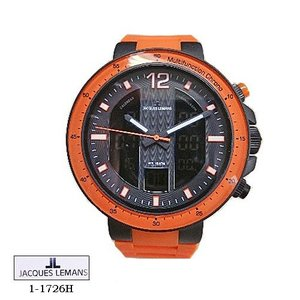 ジャック ルマン 腕時計 JACQUES LEMANS 1-1726H  Milano  クロノ  黒文字盤 オレンジラバーベルト クオーツ  メンズ|flore
