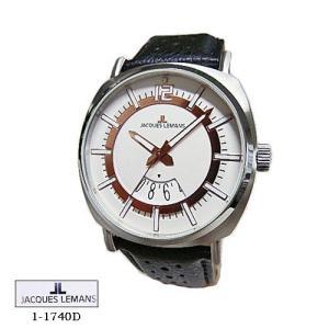 ジャック ルマン 腕時計 JACQUES LEMANS 1-1740D  London   ホワイト文字盤 黒革ベルト クオーツ メンズ|flore