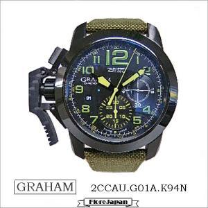 グラハム 腕時計 GRAHAM  2CCAU.G01A.T15N  クロノファイター オーバーサイズ  ターゲット 自動巻き グリーン革ベルト|flore