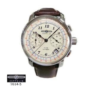 ツェッペリン 腕時計 ZEPPELIN 7614-5  ロサンゼルス クロノ クオーツ アイボリー文字盤  茶革ベルト メンズ|flore