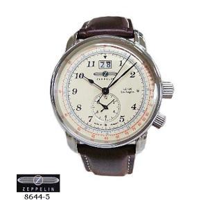 ツェッペリン 腕時計 ZEPPELIN 8644-5  ロサンゼルス クオーツ アイボリー文字盤  茶革ベルト メンズ|flore