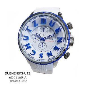 デューネンシュッツ 腕時計 DUENENSCHUTZ  AD011AR=A-White-Blue  クロノ ホワイト文字盤 ホワイトラバーベルト クオーツ メンズ 【国内正規品】|flore