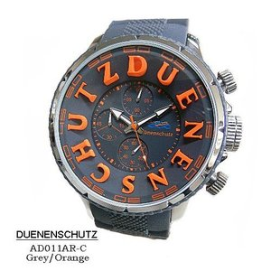 デューネンシュッツ 腕時計 DUENENSCHUTZ  AD011AR=C-Grey-Orenge  クロノ グレー文字盤 グレーラバーベルト クオーツ メンズ 【国内正規品】|flore