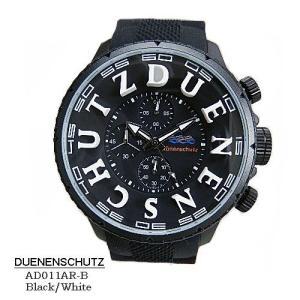 デューネンシュッツ 腕時計 DUENENSCHUTZ  AD011AR=b-Black-White  クロノ 黒文字盤 黒ラバーベルト クオーツ メンズ  【国内正規品】|flore