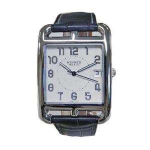 エルメス 腕時計 HERMES ケープコッド シルバー文字盤 黒アリゲーター革ベルト  クオーツ メンズ|flore