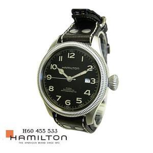 ハミルトン 腕時計 HAMILTON H60455533  カーキ Team Earth  ハリソンフォードモデル 黒文字盤 こげ茶革ベルト 自動巻き|flore