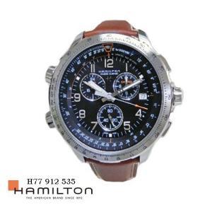 ハミルトン 腕時計  HAMILTON H77912535  カーキ X-WIND  クオーツ GMT 黒文字盤  茶革ベルト メンズ|flore