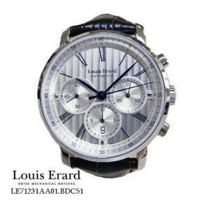 ルイ ・エラール 腕時計 Louis Erard  エクセレンス  クロノ LE71231AA01.BDC51  シルバー文字盤 黒革ベルト 自動巻き メンズ<|flore