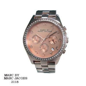 マーク バイ マーク ジェイコブス 腕時計 MARC BY MARK JACOBS  MBM3118  クロノ  ピンクゴールド文字盤  クリスタルベゼル SSベルト クオーツ  メンズ|flore